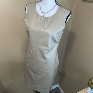Neiman Marcus NWT Nude Tan Medium Leather Dress